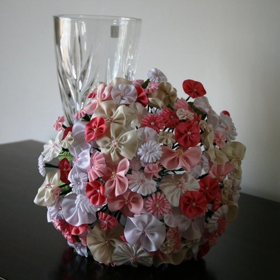 Glorious ribbon flower bouquet  ////Deposit////   for bride  flower girl wedding party Custom order deposit
