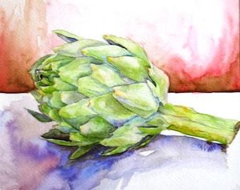 Artichoke- Original Watercolor Framed