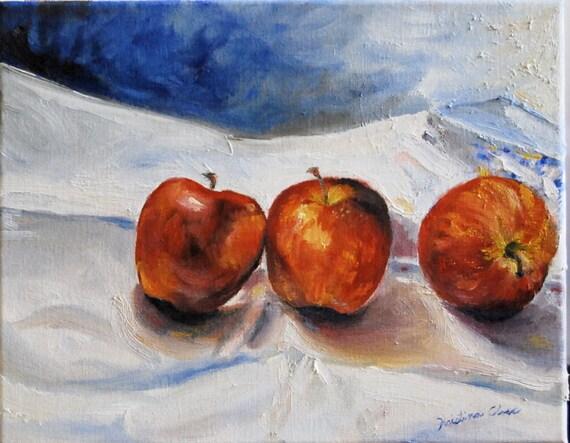Three Apples - Original Oil Painting