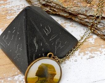 Sphinx Necklace, sepia tone , antique brass,