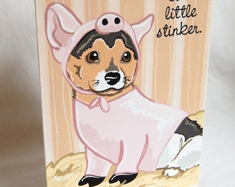 Corgi Piglet Greeting Card