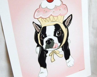 Cupcake Boston Terrier - Eco-friendly 7x9 Size
