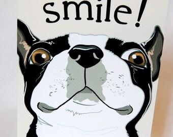Smiling Boston Terrier Greeting Card