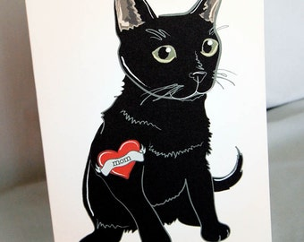 Custom Black Cat Tattoo Greeting Card