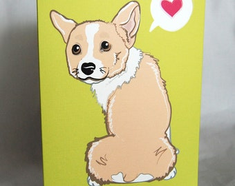 Bashful Corgi Greeting Card