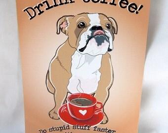 Coffee English Bulldog - 5x7 Eco-friendly Print