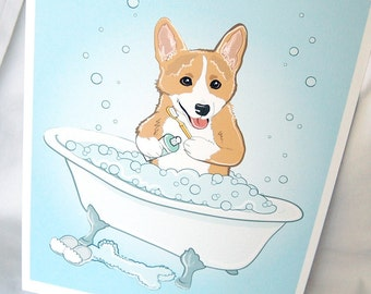 Bathtime Corgi - Eco-Friendly 8x10 Print