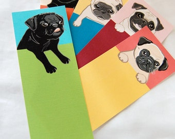 Pug Bookmarks - Eco-friendly Set of 5
