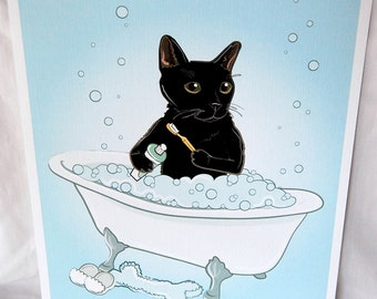 Bathtime Black Cat - Eco-Friendly 8x10 Print