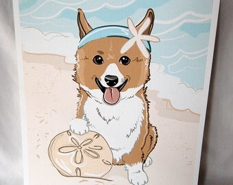 Beach Corgi - Eco-Friendly 8x10 Print