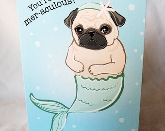 MerPug Greeting Card