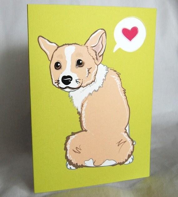 Bashful Corgi Greeting Card