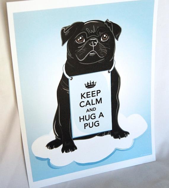 Keep Calm Black Pug on a Cloud - 8x10 Eco-friendly Print