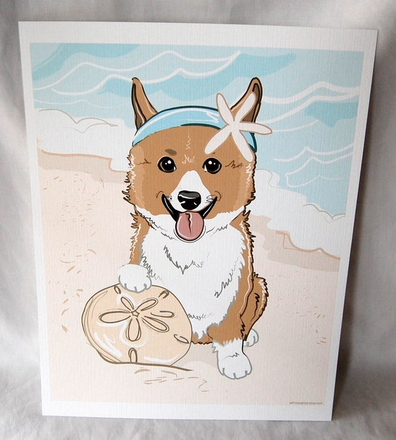 Beach Corgi - Eco-Friendly 8x10 Print