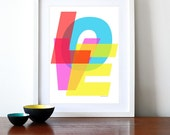 Typography poster print retro helvetica graphic design inspirational quote - United Colours of Love - A3