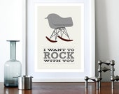 Eames poster print Herman Miller Mid century modern decor retro nursery kitchen art - I Want To Rock With You 2 Grey A3