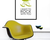 Eames poster print Mid Century Modern retro Herman Miller rocker chair home nursery Kitchen art - I want to rock with you - Olive 50 x 70