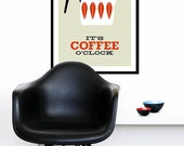 Cathrineholm poster print - It's Coffee O'clock - Large 50 x 70 cm size - Red - Cathrineholm Mid Century modern home tea coffee kitchen