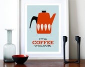 Coffee print Catherineholm poster Mid Century Modern retro kitchen art enamelware tea office print - It's Coffee O'clock Red A3