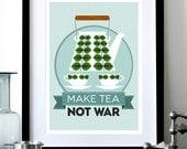 Mid Century Modern poster print Stig Lindberg retro Scandinavian teapot coffee kitchen art - Make Tea Not War 2 - A3