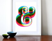 Ampersand poster retro typography print graphic design CMYK Rainbow font kitchen art office mid century modern - Ampersand A3