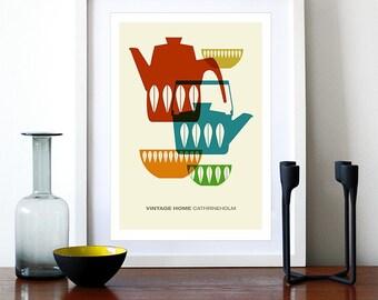 Cathrineholm poster print Mid century modern vintage retro kitchen art home - Vintage Home Cathrineholm 1 A3