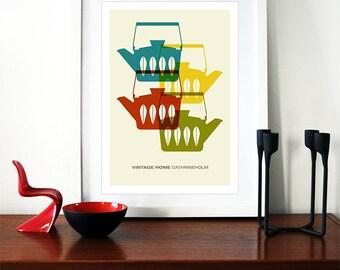 Cathrineholm poster print Mid Century Modern home kitchen art coffee tea - Vintage home  Cathrineholm 2 A3