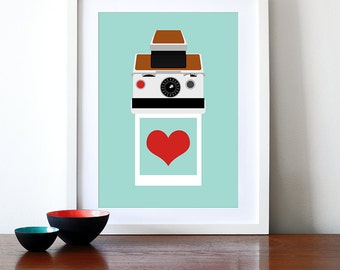 Polaroid poster print - Instant Love SX70 - A3 29.7 x 42 cm  retro photography eames SX70 Mid century modern love