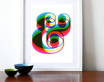 Ampersand poster retro typography print graphic design CMYK Rainbow font kitchen art office mid century modern - Ampersand A3