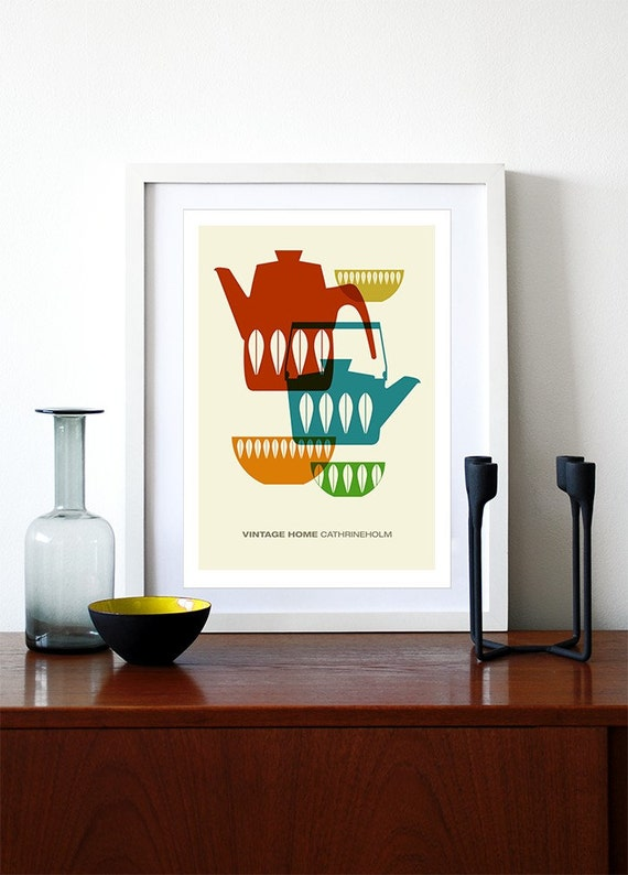 Cathrineholm poster print Mid century modern vintage retro kitchen art home - Vintage Home Cathrineholm 1 A3