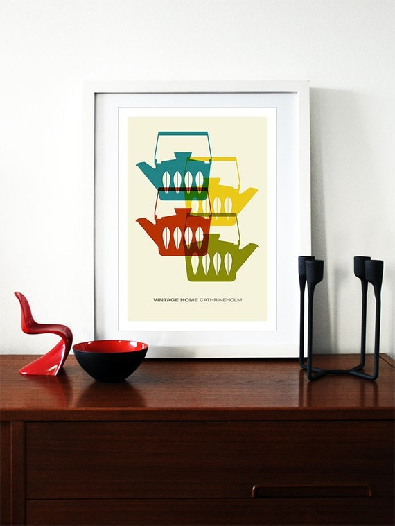 Cathrineholm poster print Mid Century Modern home kitchen art coffee tea - Vintage home  Cathrineholm 2 A3