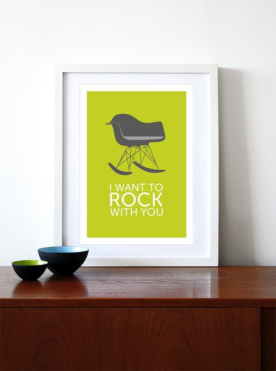 Eames poster print vintage chair  Mid Century modern Herman Miller retro lounge kitchen art office - I Want To Rock With You Grey A3