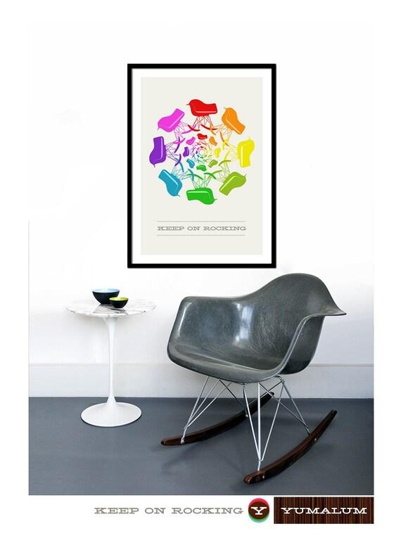 Eames poster print Herman Miller chair rocker nursery Mid century modern retro rainbow lounge kitchen art - Keep on Rocking 50 x 70 cm