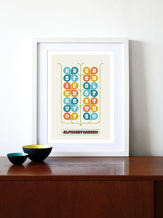 Typography poster nursery art print  Mid Century Modern home retro eames kitchen art -  Alphabet Garden - A3