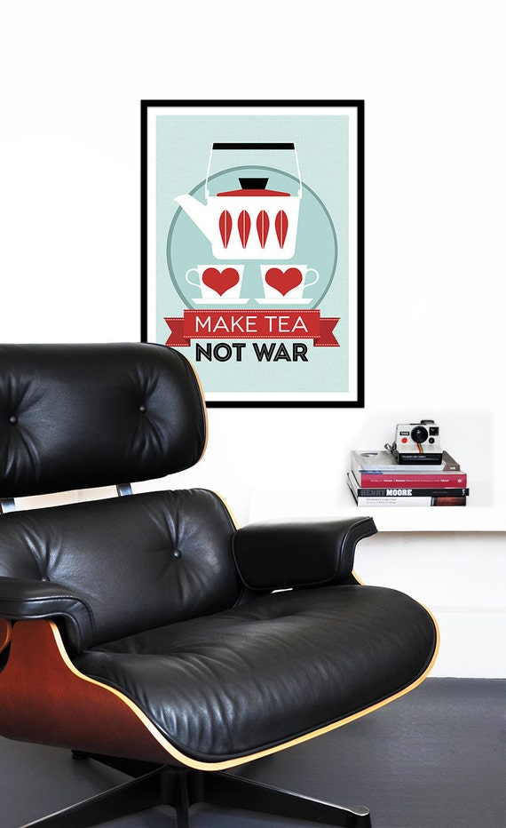 Catherineholm poster print - Make Tea Not War - 50 x 70 cm poster red Mid Century Modern retro kitchen tea