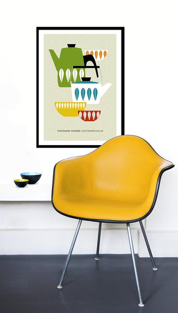 Cathrineholm poster print Mid Century Modern home Scandinavian kitchen art coffee vintage tea   - Vintage home Cathrineholm 4 - 50x 70 cm