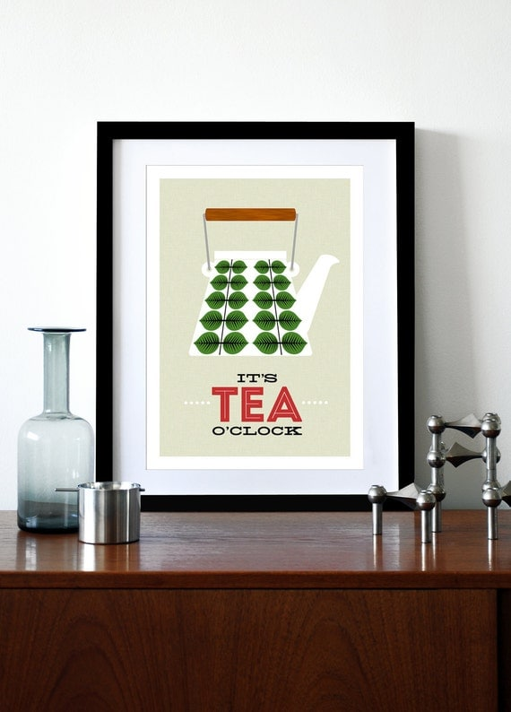 Mid Century Modern poster print Stig Lindberg retro tea coffee kitchen art - It's Tea O'clock - A3