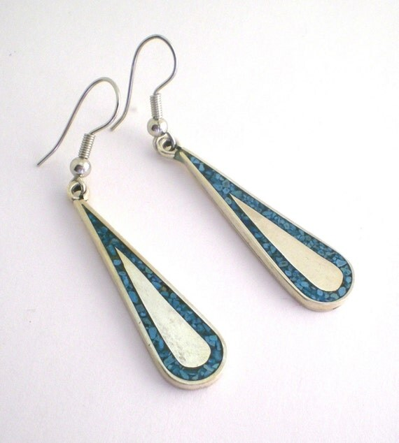 Turquoise Earrings Sterling Silver Mexico Ethnic Tear Drop Dangle Pierced Turquoise Jewelry Vintage Jewelry