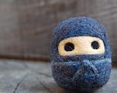 Black Ninja WOOLY Egg Doll Made to Order