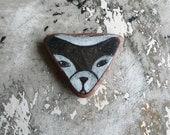Terra Cotta / Dark Brown Beach Pottery Dog / Wolf / Husky