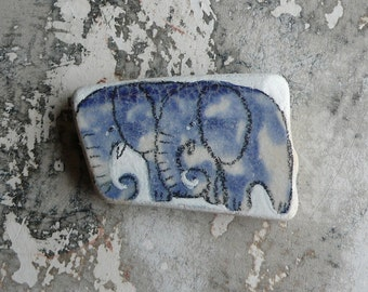 Blue Pattern Beach Pottery Elephants