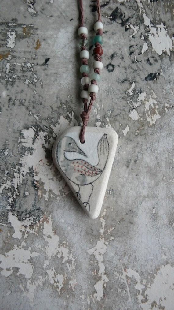 RESERVED - Healing Shard Necklace - Beach Pottery Bird