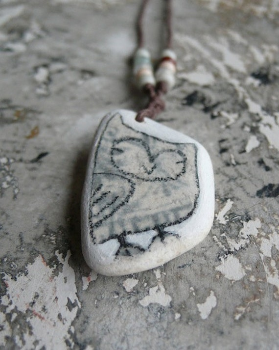 Healing Shard Necklace - Grey / Blue Patterned Beach Pottery Owl
