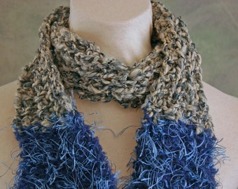 SALE 30% Off Recycled Denim Blue Jeans Hand Knit Scarf