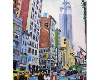Empire State Building New York City Painting Manhattan Midtown Skyscraper Art NYC Fine Art Print 8x10, Cityscape Painting by Gwen Meyerson