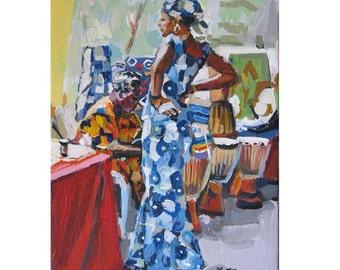 "Black Woman Fine Art Print 8x10, ""Ethnic Folk Market"" tribal African Figurative Figure Painting by Gwen Meyerson"