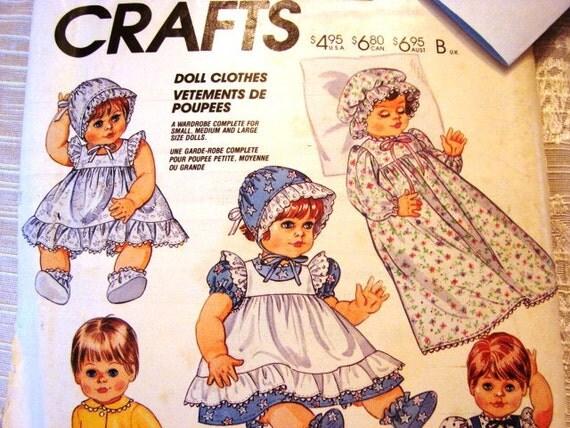 Vintage McCalls Doll Clothes Dress Pattern 13 14 15 16 17 18 inch dolls Bonnet Booties Panties Nightgown Pinafore Pattern Size S M L Uncut