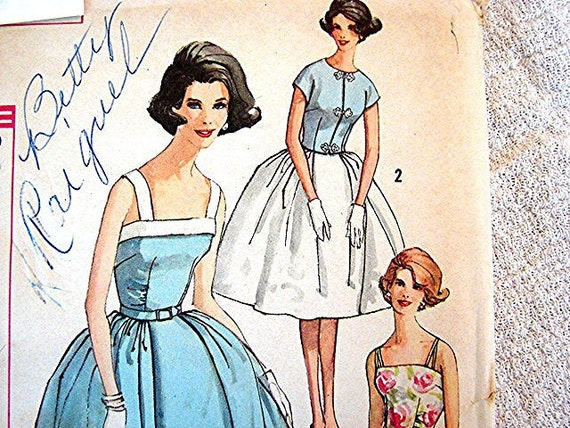 1960s Vintage Dress Pattern Simplicity Misses size 14 UNCUT Full Skirt Sundress with Jacket