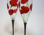 Champagne Flutes Hand Painted - Red Poppies - set of 2