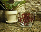 Hearts Valentine Knot Glass Votive Hand Painted